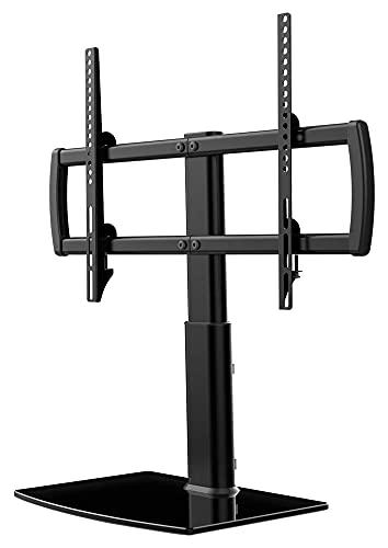 TabloKanvas Soporte de televisión/de Mesa de TV de Mesa con Montaje en Pared 4 Altura de Nivel Ajustable de Vidrio Templado de Servicio Pesado (Color : Black)