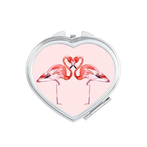 DIYthinker Flamingo Couple Amoureux Coeur Miroir de Maquillage Compact Portable Mignon Miroirs de Poche à la Main Cadeau Multicolore