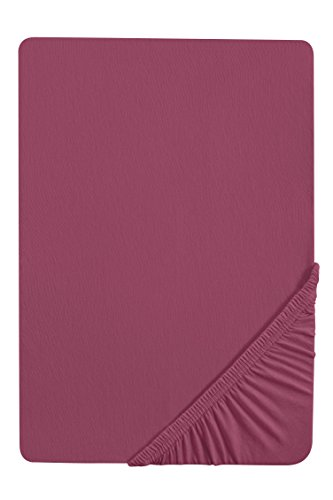 #23 biberna Jersey-Stretch Spannbettlaken, Spannbetttuch, Bettlaken, 90x190 – 100x200 cm, Brombeere