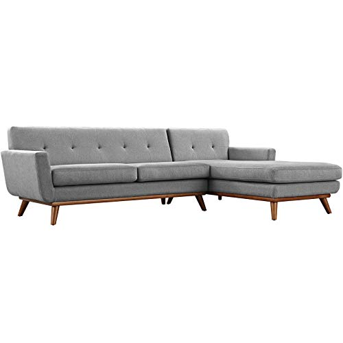 Modway Engage Mid-Century Modern Upholstered Fabric Right-Facing Sectional Sofa in Expectation Gray