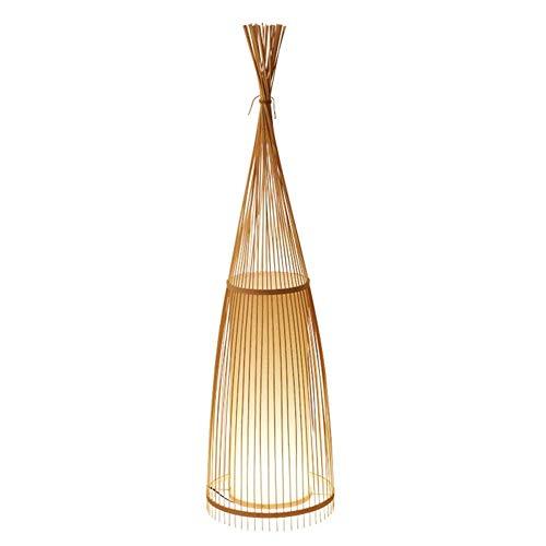 CNRRT Lámpara de pie vertical de estilo japonés sudeste asiático lámpara de pie LED de fibra natural de bambú hecha a mano linterna, una cálida sala de estar decoración de la oficina dormitorio, peque