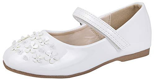 Lora Dora Girls Metallic Glitter Studded Flowers Party Shoes White 4 UK Child