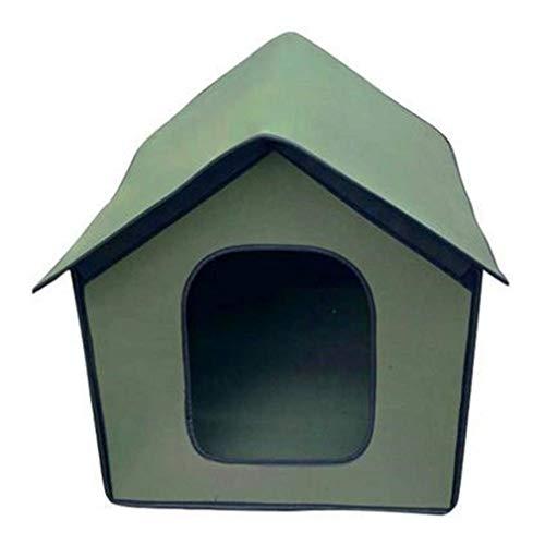 Caseta para gatos impermeable para perros o gatos - Caseta para perros - Caseta para mascotas - Refugio para exteriores - Color verde - M