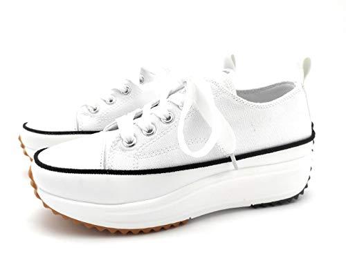 Zapatillas con Plataforma, Zapatillas de Lona Mujer, Zapatillas de Moda (Blanco, 38 EU, 38)