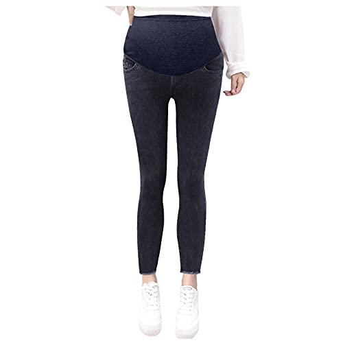 WOOGOD Maternity Belly Jeans Skinny - Ropa de maternidad para mujer, pantalones de mezclilla cortados para niñas, pantalones de pie, vaqueros para mujeres embarazadas, azul oscuro, M