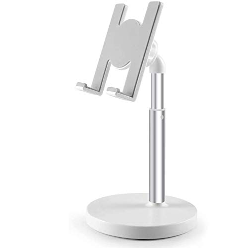 FYBOOR Cell Phone Stand, Height Angle Adjustable Phone Stand, Thick Base Phone Holder Stand for Desk, Compatible for Mobile Phones,iPhone, Ipad and Tablets(Within 10Inch),White