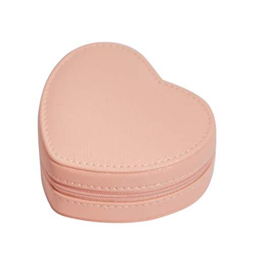 Kalaokei Caja de joyería en forma de corazón con forma de corazón, caja de almacenamiento creativa para pendientes, pulsera y collar, color rosa