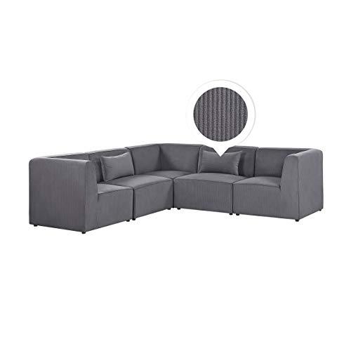 Canapé d'angle 5 places Gris Velours Luxe Moderne