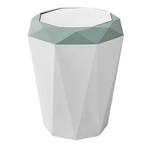 LOVIVER 13 Gallon Home Rubbish Garbage Bin Wastebasket Trash Can Dustbin with Lid for Kitchen Cabinet Door, Bathroom, Toilet, Bedroom, Living Room - Blue, Large