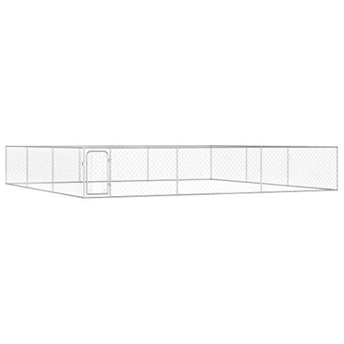 Festnight Outdoor Hundezwinger Flügeltür mit Sicherungsriegel Hundehütte Hundekäfig Hundehaus Verzinkter Stahl 6 x 6 x 1 m