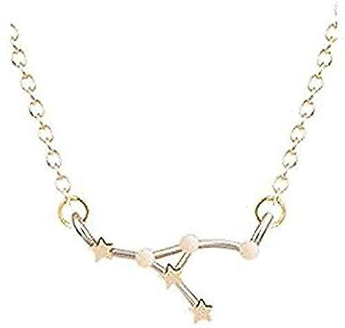 ZGYFJCH Co.,ltd Collar de Moda Collar de Acero Inoxidable Collar de Signo de Estrella Mujeres 1 constelación horóscopo Pareja Collares Hombres joyería Regalo de la Muchacha