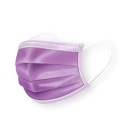 DermSource 3-Ply Disposable Face Masks for Kids | MADE IN USA | Non Woven, Breathable Face Mask with Ear Loop and Adjustable Nose Clip | Lightweight Face Cover for Girls and Boys | (Purple)