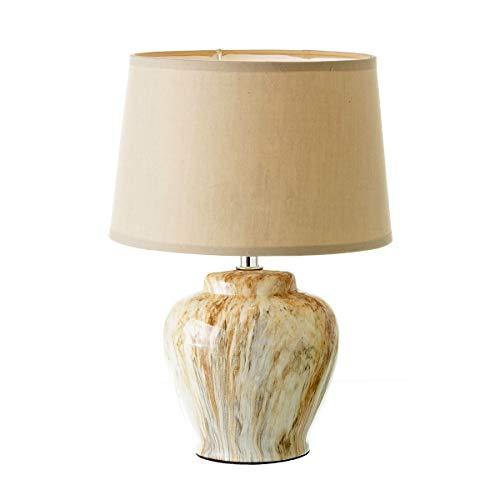 Lámpara de mesita de noche clásica beige de cerámica para decoración Bretaña - LOLAhome