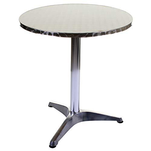 Aluminium Lightweight Chrome Bistro Table Patio Garden Outdoor Silver