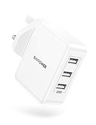 RAVPower 30W USB Plug Charger, USB Wall Chargers 3-Port Mains Adapter Plug Power Super Compact for iPhone 11 Pro X XR XS Max 8 7 6 Plus, Galaxy, iPad Pro Air 2 Mini 4 and More
