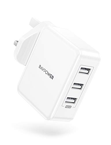 RAVPower 30W USB Plug Charger, USB Wall Chargers 3-Port Mains Adapter Plug Power with Fast Charging Technology for iPhone 12 Mini Pro Max 11 Pro X Xr XS Max, Galaxy, iPad Pro/Air 4/Mini 4 and More