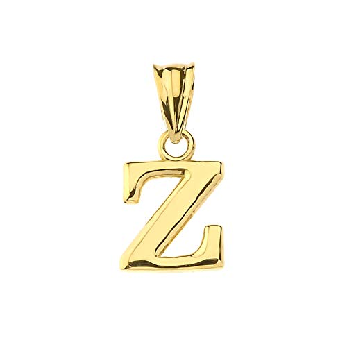 Fine Personalized Initial Z Charm Pendant in Solid 14k Yellow Gold