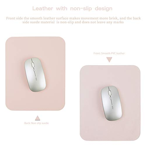 YSAGI 2 Pack Mouse Pads, Ultra Thin Waterproof PVC Leather Mouse Pad,Stitched Edges,Works for Computers, Laptop,All Types of Mouse pad, Office/Home(7.87''×9.84'', 2 Pack,Pink) Photo #4