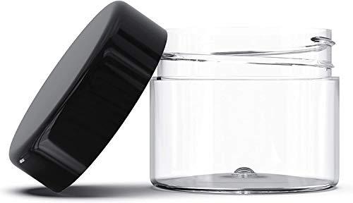 Recipientes de Plástico Cosméticos,COTEY 12 Piezas Redondo Pot Tarros con Tapa Negra Botes Herméticos Botella de Portátil Plástico Transparente para Cremas, Lociones,20g/20ml Contenedores Cosmético