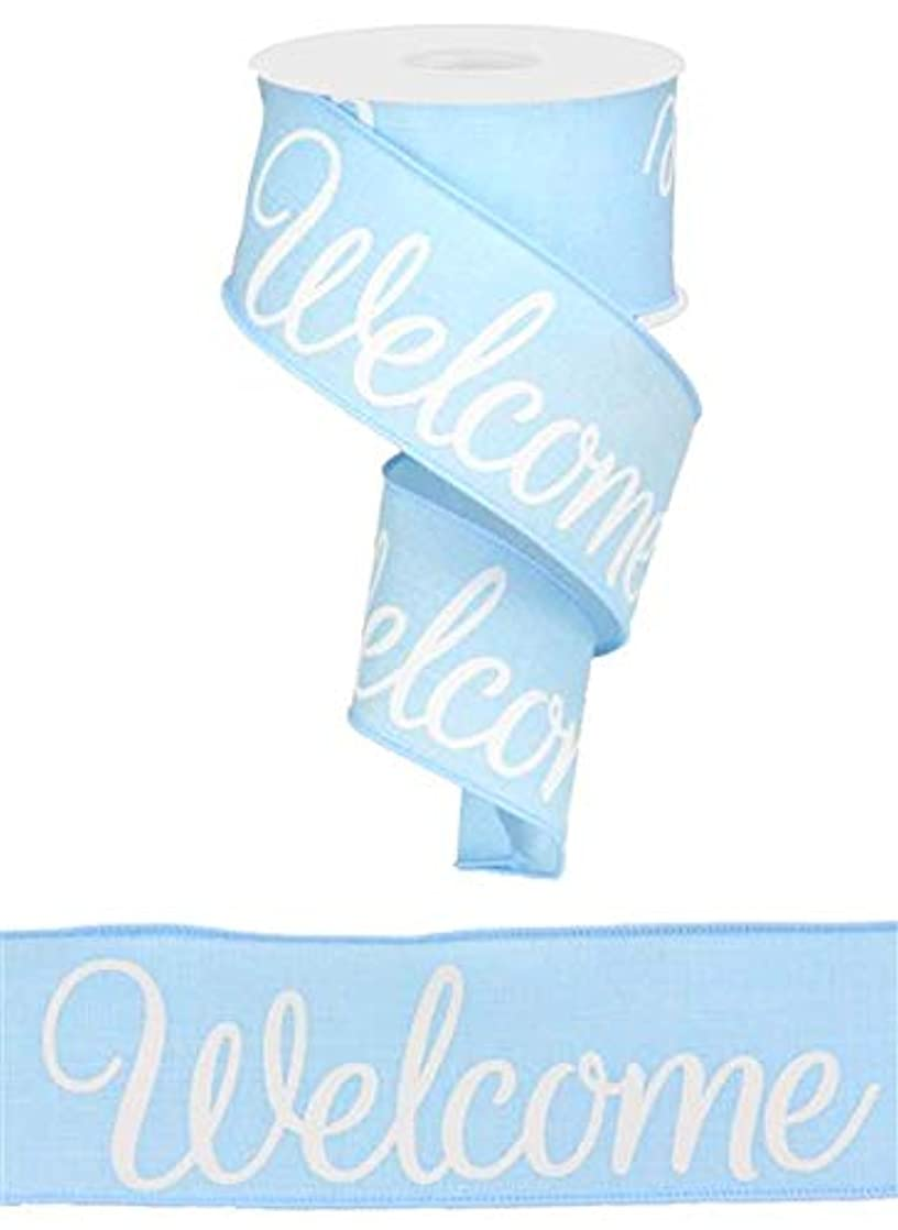 Welcome Canvas Wired Edge Ribbon, 2.5