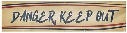 CGSignLab Nostalgia Stripes Wind-Resistant Outdoor Mesh Vinyl Banner 12x3 Danger Keep Out