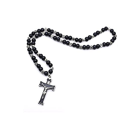Iglesia ortodoxa crucifijo Cruz colgantes Rosario collar oración de Cristo negro rosarios de madera cadena de cuentas joyería religiosa