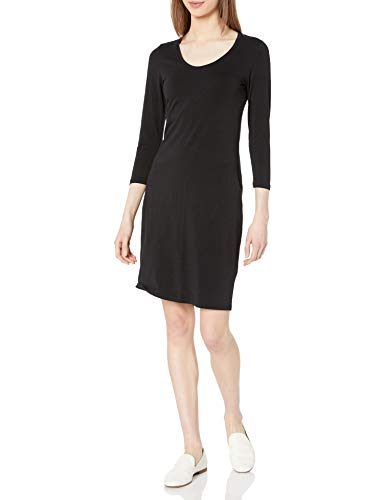 Amazon Brand - Daily Ritual Women's Stretch Supima Long-Sleeve Dress, Black, XX-Large