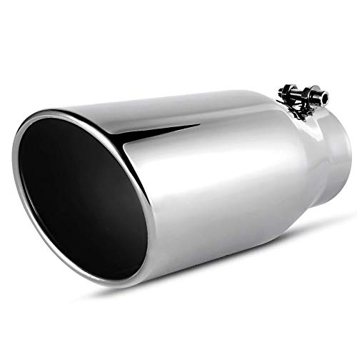 AUTOSAVER88 3.5 Inch Inlet Chrome-Plated Finish Exhaust Tip, Standard 3 1/2 Inch Universal Stainless Steel Diesel Exhaust Tailpipe Tip, 3.5' x 5' x 12', Clamp/Bolt-On Design