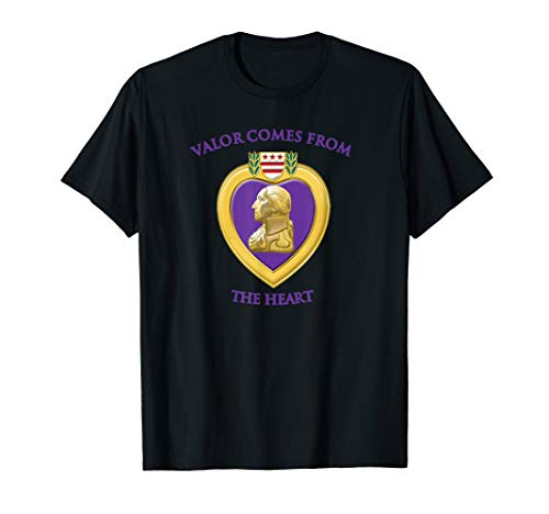 Valor Comes From The Heart Purple Heart Military Design T-Shirt