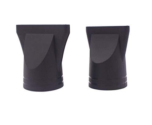 2PCS Negro Profesional Salón Plástico Secador de Pelo Reemplazo de Boquilla Reemplazo de Concentrador Estrecho Blow Flat Boquilla de Secado de Cabello Especial para Diámetro Exterior 4.2-4.6cm
