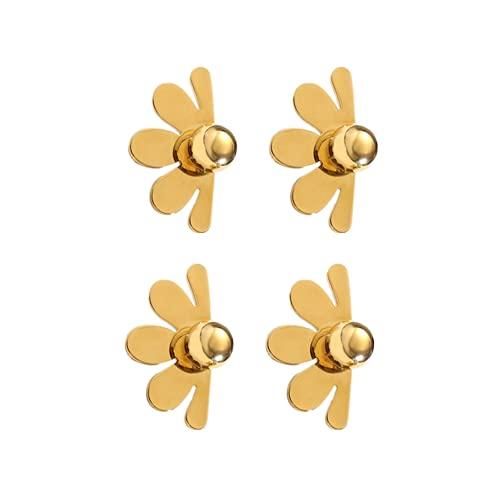 forocean 2 pares de orejeras / pendientes metal oro flor pendientes pendientes cobre chapado en oro