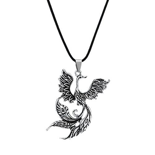 XXXD Moda Viking Colgante Colgante, Firebird Phoenix Collar Retro Auspicioso Pájaro Colgante Joyería Personalidad Trend con decoración Ancient Silver