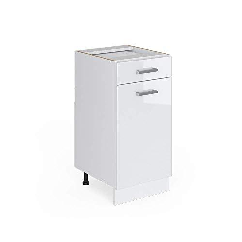 Vicco Küchenschrank R-Line Hängeschrank Unterschrank Küchenzeile Küchenunterschrank Arbeitsplatte, Möbel verfügbar in 6 Dekoren (Weiss ohne Arbeitsplatte, Schubunterschrank 40 cm)