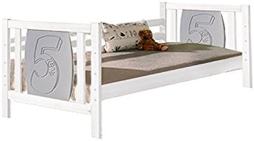 Kinderbett   Jugendbett Milo 30, Farbe  Weiß  Grau Zahl 5, teilmassiv - Liegefl e  80 x 190cm   (B x L)