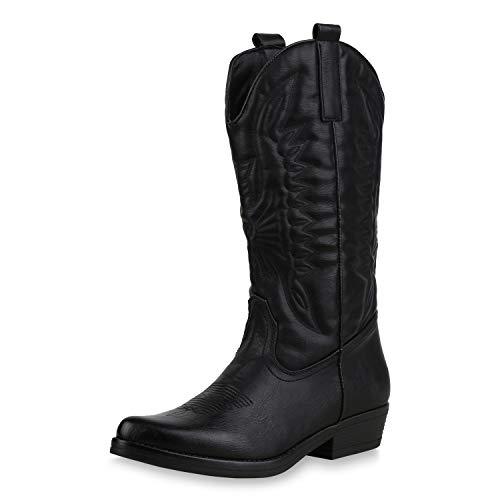 SCARPE VITA Damen Cowboystiefel Stickereien Western Stiefel Cowboy Boots 173418 Schwarz 38