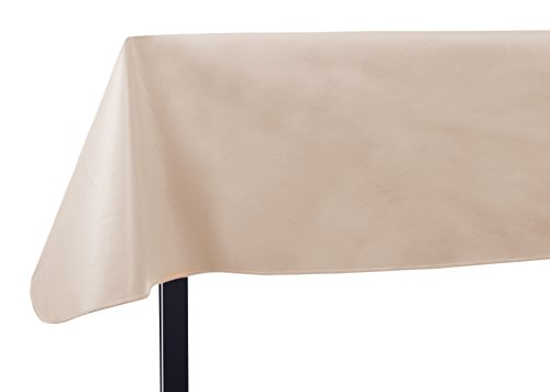 Yourtablecloth Heavy Duty Vinyl Rectangle or Square Tablecloth – 6 Gauge Heavy Duty Tablecloth – Flannel Backed – Wipeable Tablecloth with Vivid Colors & Many Sizes 60 x 120 Sand