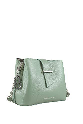 collezione alessandro Ziera - Borsa a tracolla in vera pelle, 22 x 18 x 10 cm, Verde (verde), Taglia unica