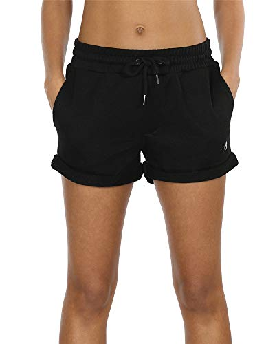 icyzone Damen Shorts Sport Yoga Kurze Hose Sweatpants Laufshorts Baumwolle (L, Black)
