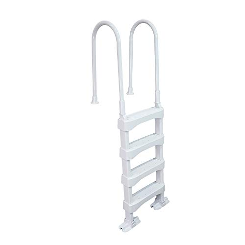 Vinyl Works SLD2 Heavy-Duty Resin Pool Step Ladder for 60 Inch Above Ground or In Ground Swimming Pools, White