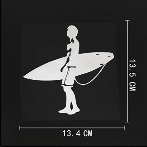 GenericBrands 5 Piezas Etiqueta engomada del Coche 13,4 cm x 13,5 cm Tabla de Surf Surf Hombre calcomanía Vinilo Coche Pegatina Blanco