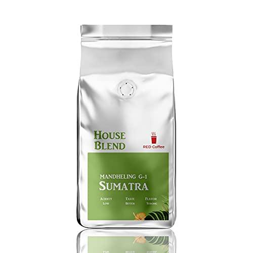 REDコーヒーマンデリンスマトラ コーヒー豆 (粉) 250グラム ミディアムロースト ハウスブレンド レギュラーコーヒー ドリップコーヒー コールドブリューアイスコーヒー用