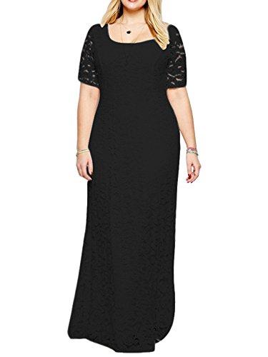 ZiXing Groß Größe Damen Elegante Abendkleid Kurzärmeliges Bodenlang Kleid Spitze Abendanzug Schwarz 9XL(Büste:134CM-144CM)