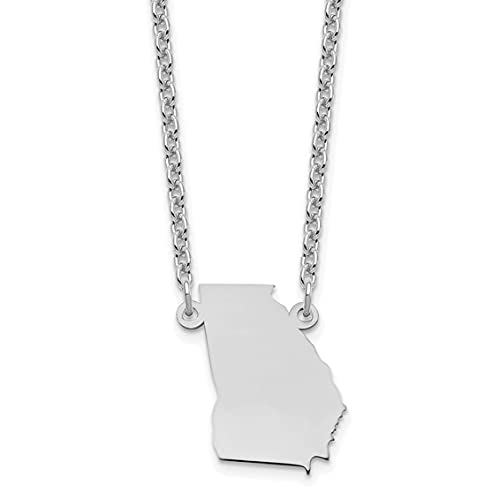 Jewelry-Sterling Silver/Rhodium-plated Georgia State Necklace