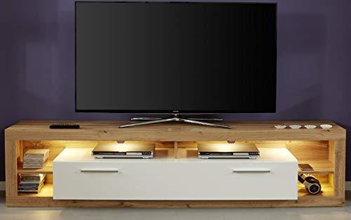 trendteam smart living 182685249 Rock Wohnen, TV-Unterteil Groß, Holzdekor, weiß, 44 x 200 x 48 cm