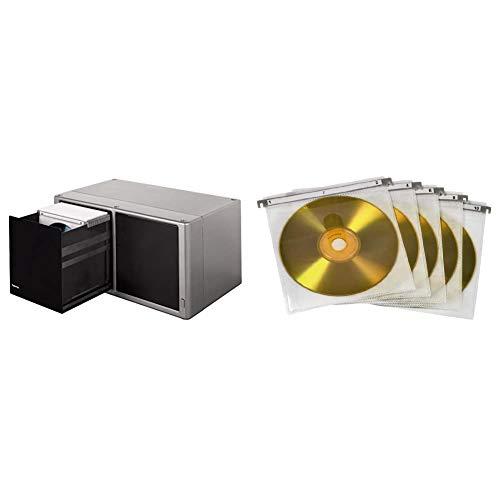 Hama 48319 Estantería para CDs (120 Discos), Plateado + CD/DVD Double Protective Sleeves,Pack of 50 Pcs, White, Blanco