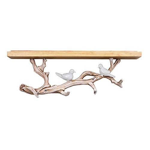 Decoraciones de Pared Inicio Accesorios Perchero pájaro de la Resina Clave de Toallas de Cocina Dormitorio Ganchos Perchero de Madera con estantería Perchero Percheros de Pared (tamaño : 61x26cm)