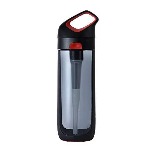KOR Nava BPA Free Clear Reusable Water Bottle I Ribbon Red I 650mL I 22 Oz I Filter Straw I Eco-Friendly I Leak Proof I One Click Open w/Handle I Great for Everyday Use and Travel I Dishwasher Safe.