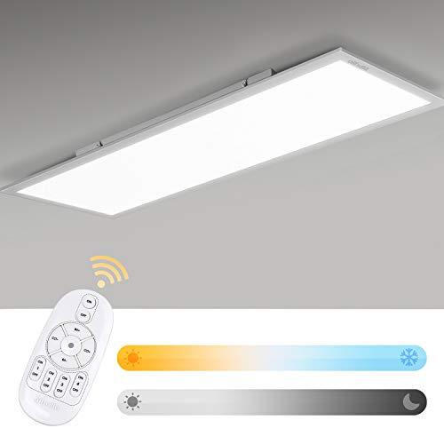 Albrillo LED Panel 120x30cm - 40W Dimmbar und Farbwechsel, Farbtemperatur Einstellbar Warmweiss- Kaltweiss (2700-6500K), LED Deckenleuchte mit Fernbedienung, Büroleuchte Inkl. LED Trafo