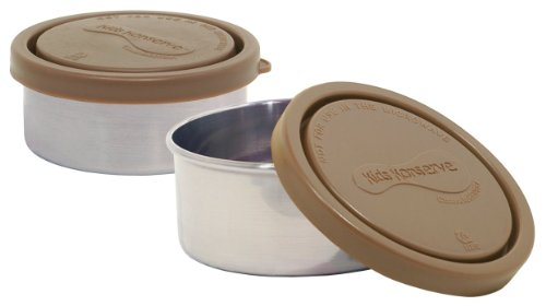 U.Konserve Stainless Steel Round Containers, Set of 2, Mud Brown