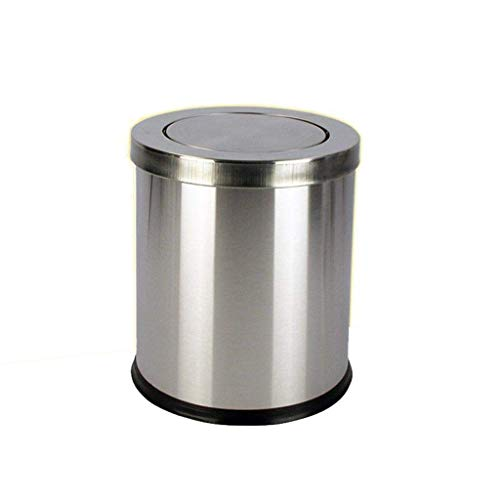 Cubo de basura de acero inoxidable de 12 litros, para casa, hotel, oficina, baño, cesto de basura (color: plata) kshu (color: plata)